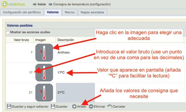 Valores de la consigna de temperatura